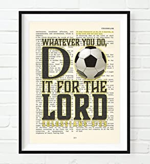 Soccer Art- Whatever You Do, Do It For the Lord -Colossians 3:23- Vintage Bible verse wall Christian ART PRINT, UNFRAMED, boys or boys room poster, Christmas gift, 5x7 inches