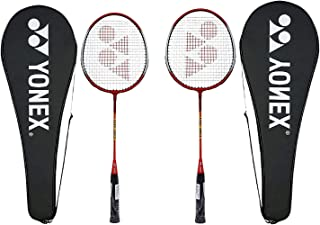 YONEX GR 303 Badminton Racket 2018-19 Professional Beginner Practice Racket with Full Cover Steel Shaft - Pack of 2