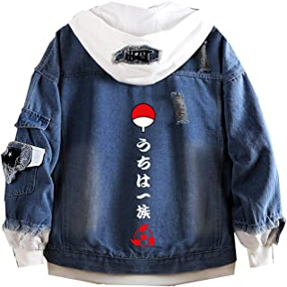 Naruto Hooded Jacket Men Kakashi Oversized Itachi Blue Jean Coat, Men Akatsuki Jacket Cotton Transition Jacket XXXL, 4XL, 5XL