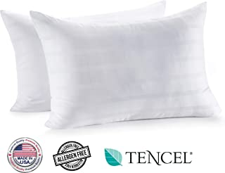 In Style Furnishings - Luxury Set of 2 Gel Fiber Bed Pillows – Made in USA – Hotel Quality, Hypoallergenic, Supportive for Head and Neck,Cooling Tencel + Cotton