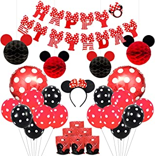 Mickey and Minnie Party Supplies Red and Black Ears Headband Happy Birthday Banner Polka Dot Balloons