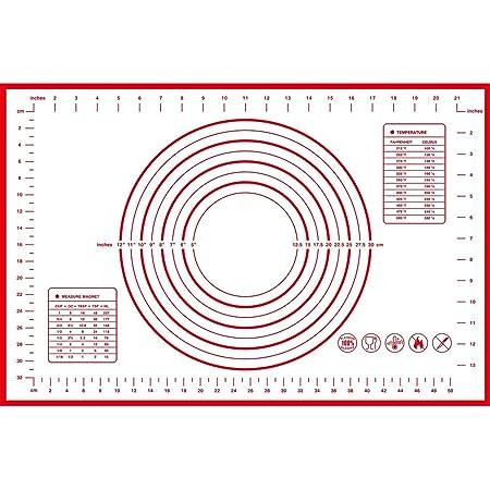 Tapis à pâtisserie en silicone antidérapant Extra Large avec mesures 60 × 40 cm pour tapis de cuisson, Tapis de comptoir, Tapis de pâte à rouler, Placement/fondant/Tapis de la croûte à tarte (Rouge)