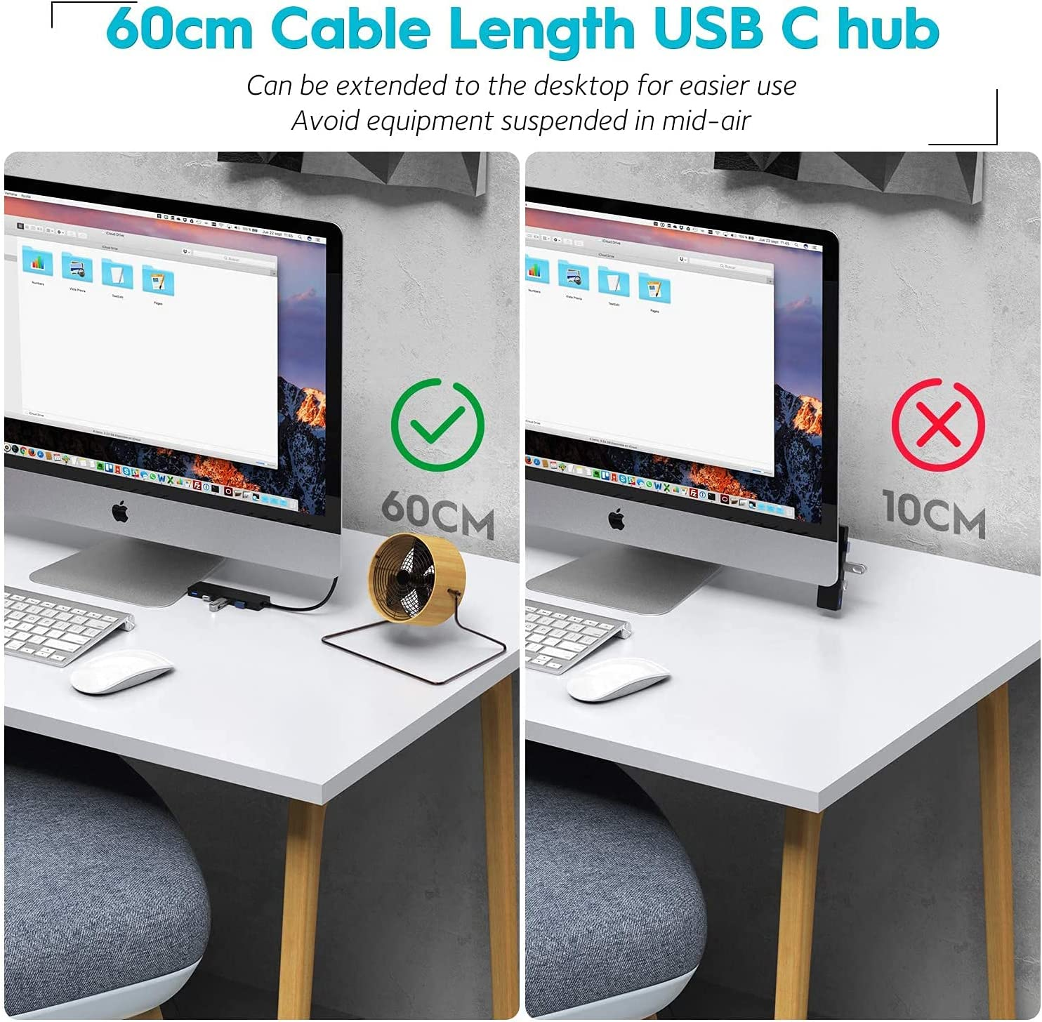 Aceele 5 Port USB 3.0 USB Type C Hub, Ultra-Slim with 2ft Extended Cable, 5 Gbps SuperSpeed, Micro USB Charging, for 2020 MacBook Pro, Surface Pro 7, Samsung S21, and Other USB C Devices