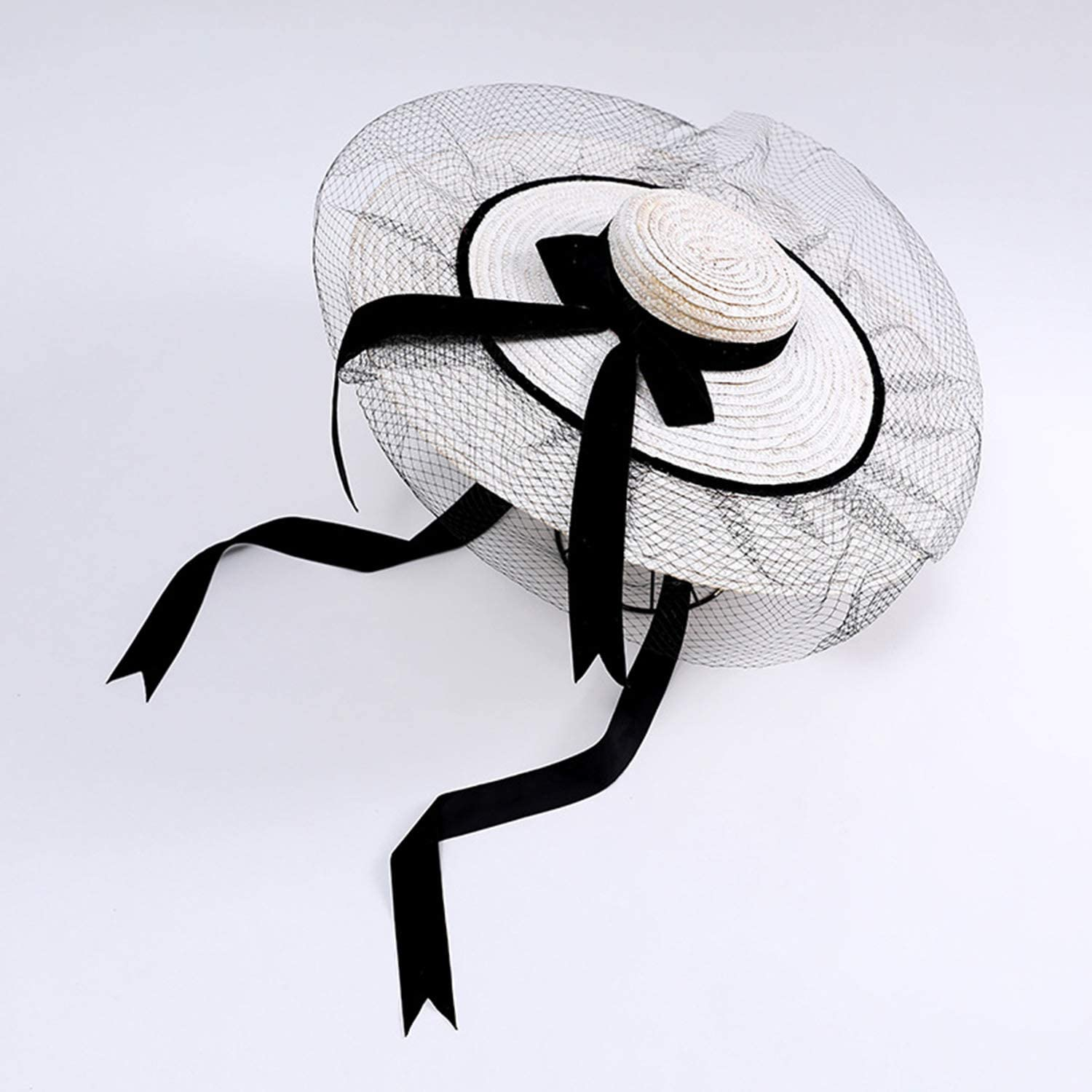 Mesh Bow Sun Hat, Shallow Hat Top Hat, Stage Catwalk Sun Shade Strap Straw Hat, Spring and Summer Outdoor Travel Beach Hat