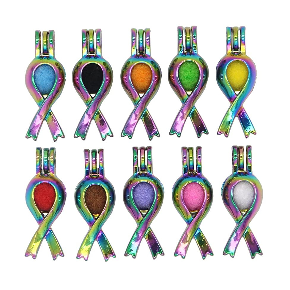 10pcs Rainbow Colors Red Ribbon Pearls Cages Locket Pendant -Add Bead Stones Perfume Essential Oils to Create a Scent Diffuser Necklace Charms