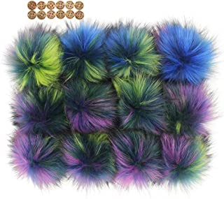 Fluffy Faux Raccoon Fur Pompoms - 12pcs Handmade Hairy Ball Fits for Knitted Hats Scarves Shawls Key Chain Accessories 5.5 inches (Multi Color)