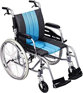 """Hi-Fortune 21lbs Lightweight Medical Manual Wheelchair with Full Length Padded Armrests and Hand Brakes, Portable and Folding with Magnesium Alloy, 17.5"""" Seat, Blue"""
