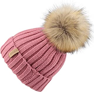 FURTALK Kids Winter Knitted Faux Fur Pom Pom Cap Toddler Boys Girls Kids Beanie Hat (Ages 2-8)