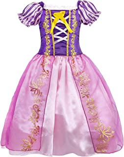 HenzWorld Little Girls Costume Dress Princess Birthday Party Cosplay Role Pretend Outfit Puff Sleeve Purple 2-3 Years