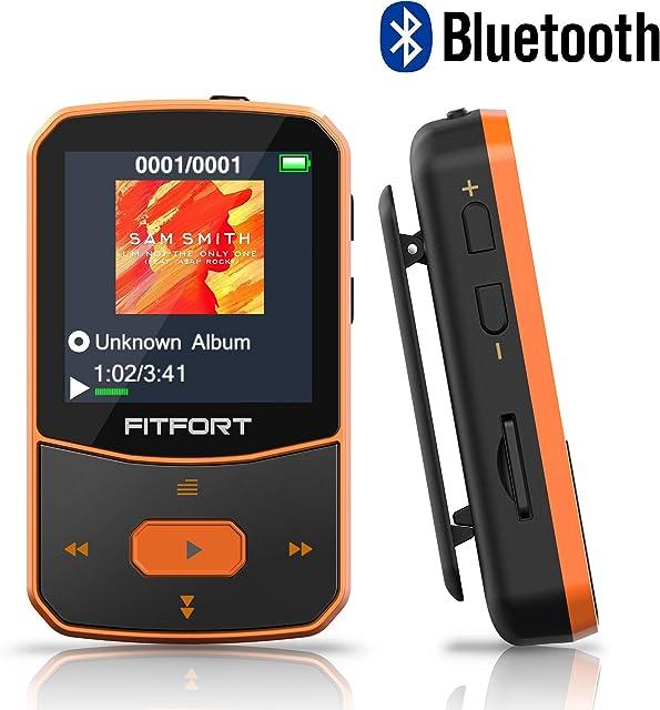 Reproductor MP3 Bluetooth 4.1 - MP3 Bluetooth Running Sonido de Gama Alta Radio FM Grabación de Voz E-Book Podómetro Pantalla de Color de 1.5 Pulgadas Soporte hasta 128GB Tarjeta
