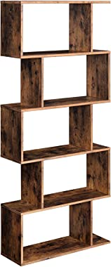 VASAGLE Wooden Bookcase, Display Shelf and Room Divider, Freestanding Decorative Storage Shelving, 5-Tier Bookshelf, Rustic B