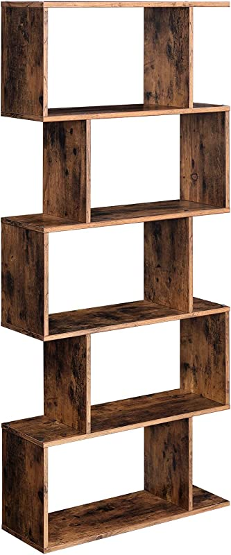 VASAGLE Wooden Bookcase Display Shelf And Room Divider Freestanding Decorative Storage Shelving 5 Tier Bookshelf Rustic Brown ULBC62BX