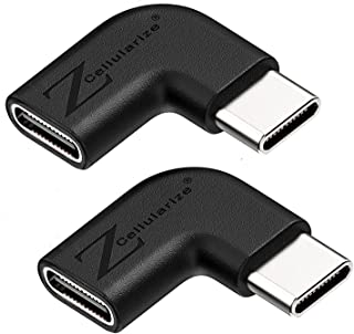 Right Angle USB C Adapter, Cellularize (2 Pack, Black) Right & Left Angle 90 Degree USB 3.1 Type C Male to Female Extensio...