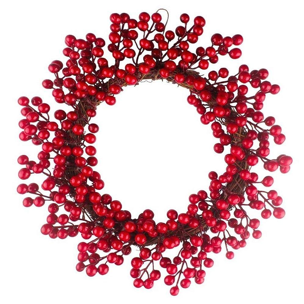 フォーラム寛大なトラブルクリスマスリースのドアの装飾シミュレーションベリー装飾花輪クリスマスの飾りレッドフルーツのガーランド (Color : Photo Color, Size : 35cm)