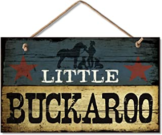 New LITTLE BUCKAROO SIGN Cowboy Plaque Boy's Room Decor WESTERN Blue Star ART