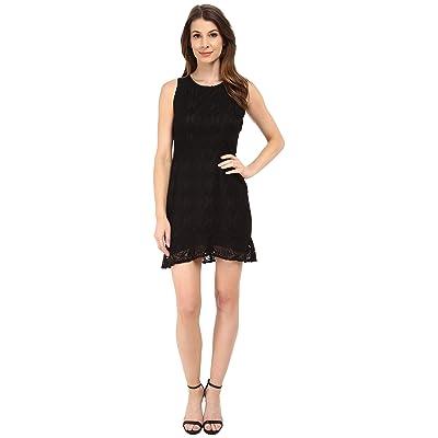 BB Dakota Elene Ruffle Hem Lace Dress (Black) Women