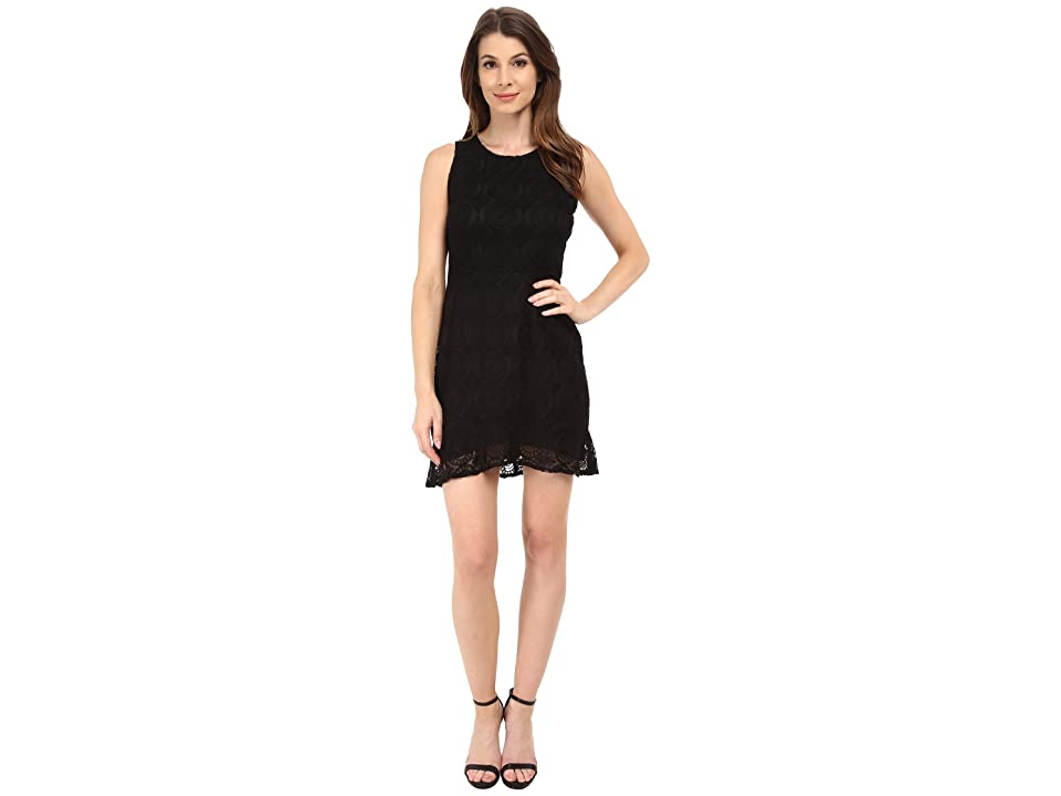 BB Dakota Elene Ruffle Hem Lace Dress (Black) Women