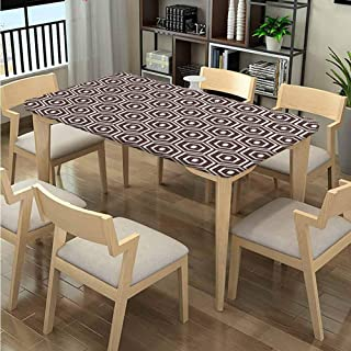 Elastic Edge Table Covers, Outline Diamond Shape Pattern printing, Elastic on The Corner Rectangular Polyester Tablecloth Fits Rectangular Tables:48