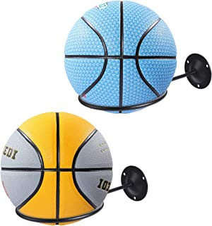 Suchek Ball Holder/Rack Wall Mount, Display Wall Storage for Soccer, Basketball, Volleyball, Rugby, Exercise Ball (2 Packs, Black)