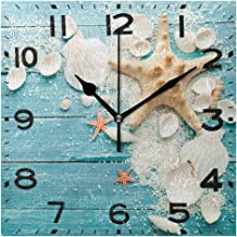 Naanle Stylish Pattern 8 Inch Square Fashion Wall Clock, Battery Operated Quartz Analog Quiet Desk Clock for Home,Office,School 8in Multi g19672563p240c275s440