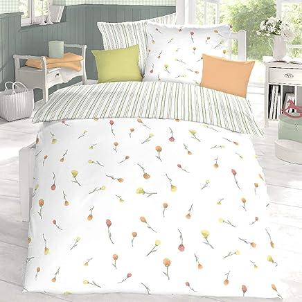 1 Kissenbezug 80x80 cm Schlafgut Edel Seersucker Bettw/äsche Riso perlrosa 1 Bettbezug 135x200 cm