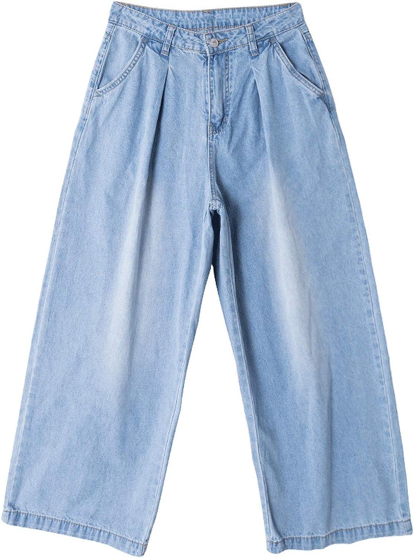 AllAboutUs Women Summer Autumn Loose Wide Leg Denim Pants Jeans Vintage Bleached Zipper Plus Size Wide Leg Trousers
