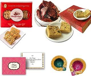 Delight Foods Indian Festive Diwali Sweet & Snacks Gift Hamper Box-Dehydrated Strawberry, Desi Ghee Patisa, Maganlal Lonavala Chikki, Makai Papdi with Happy Diwali Greeting Card & Diwali Diyas