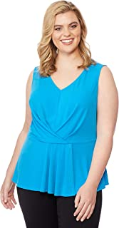 Beme Rebel Wilson Pleated Peplum Top Blu-AST 1XL - Womens Plus Size Curvy