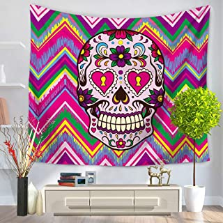LANGUGU Skulls Tapestry,Colorful Ornate Mexican Sugar Skull Set With Flower And Heart Pattern Calavera Humor Wave Background Print ,59 W X 51 L Inches?Wall Hanging for Bedroom Living Room Dorm