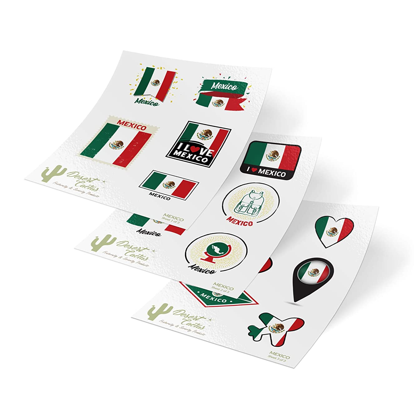 Mexico Country Flag Stickers Decals 3 Sheets 17 Total Pieces Kids Logo Scrapbook Car Vinyl Window Bumper Laptop 3 Sheets