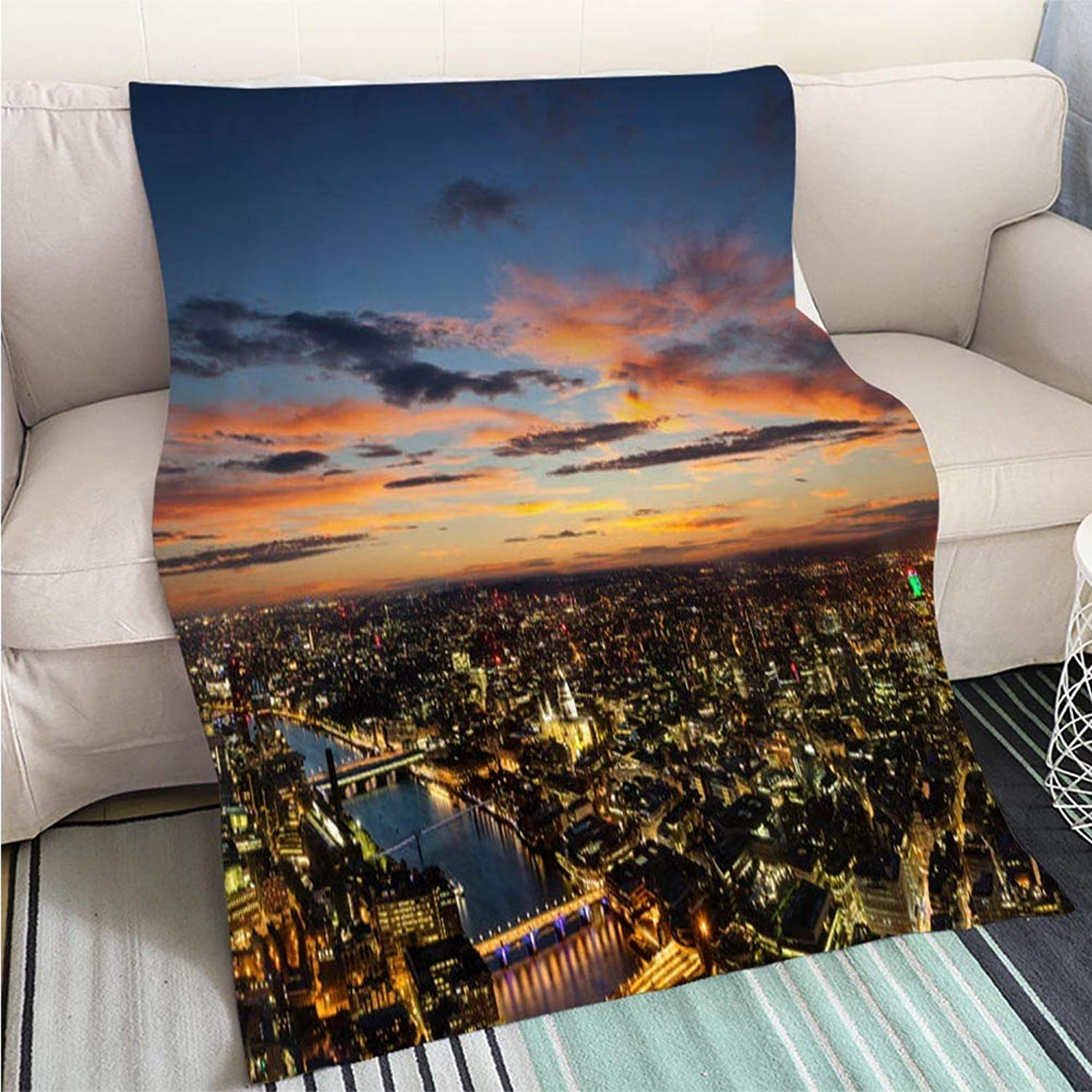 Comforter Multicolor Bed or Couch Beautiful Sunset Over Old Town of City London England Hypoallergenic Blanket for Bed Couch Chair