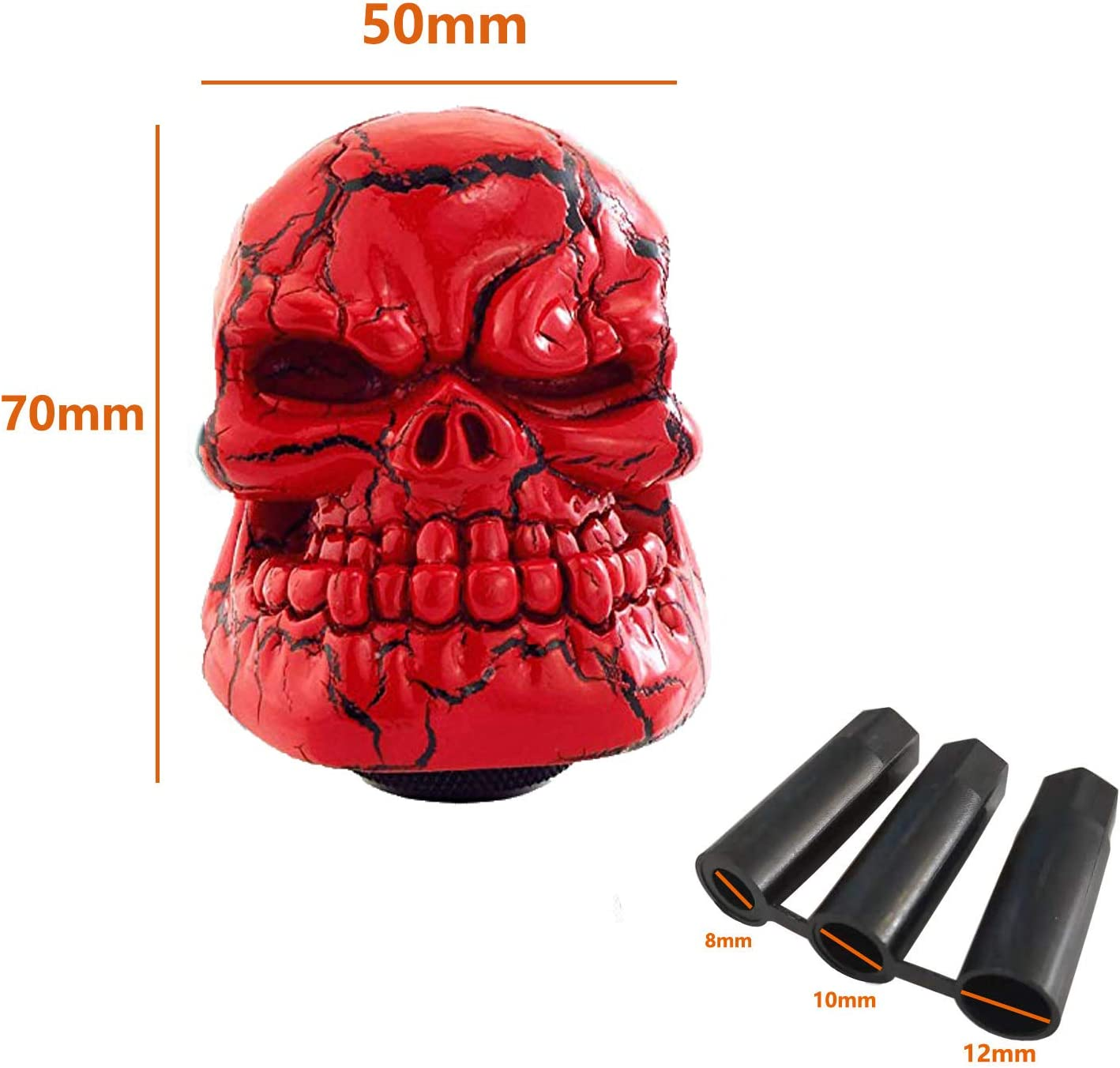 Metal Blue Lunsom Skull Shift Knobs Resin Shifter Head Universal Car Transmission Shifting Stick Handle Fit Most Automatic Manual Vehicle