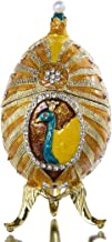 YU FENG Hand Painted Peacock Faberge Egg Jewelry Trinket Box with Gift Box Home Decor Collectible Figurine for Storing Your Rings, Earrings & Small Trinkets