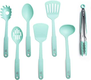 GreenLife CC001729-001 Nylon Cooking Set, 7-Piece, Turquoise, 7pc Utensil, Turqouise