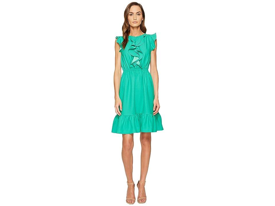 Kate Spade New York Crepe Ruffle Dress (Beryl Green) Women