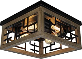 Rviezza 4 Lights Wood and Metal Flush Mount Ceiling Light, Farmhouse Industrial Rustic Ceiling Lighting Fixtures for Hallw...
