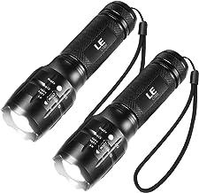 LE LED Tactische zaklamp, 2 stuks, hoog lumen, Zoomable, 5 modi, waterbestendig, handheld licht voor camping, buiten, nood...