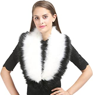Lucky Leaf Women Winter Faux Fur Scarf Wrap Collar Shrug for Wedding Evening Party