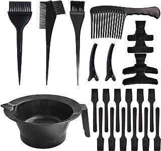 YLXT Hair Dye Color Kit Salon Coloring Dyeing Kit Brush Comb Mixing Bowl Plastic 23pcs