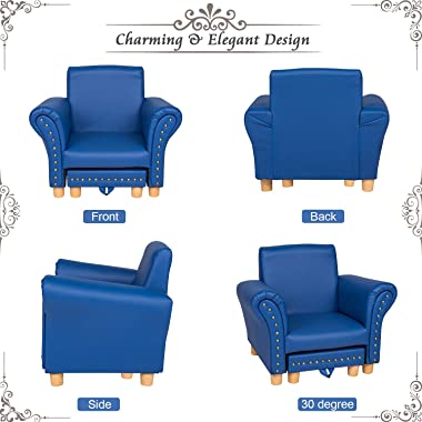 Kids Leather Sofa Chair Toddler Lounge Sofa Kids Upholstered Chair with Footstool for Nursery School Game Room Kindergarten