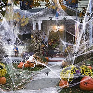 GUAN Halloween White spinnennet, rekbaar spinnenweb met 100 stuks kleine spinnen genoeg om 1000 m² te bedekken, Halloween-...