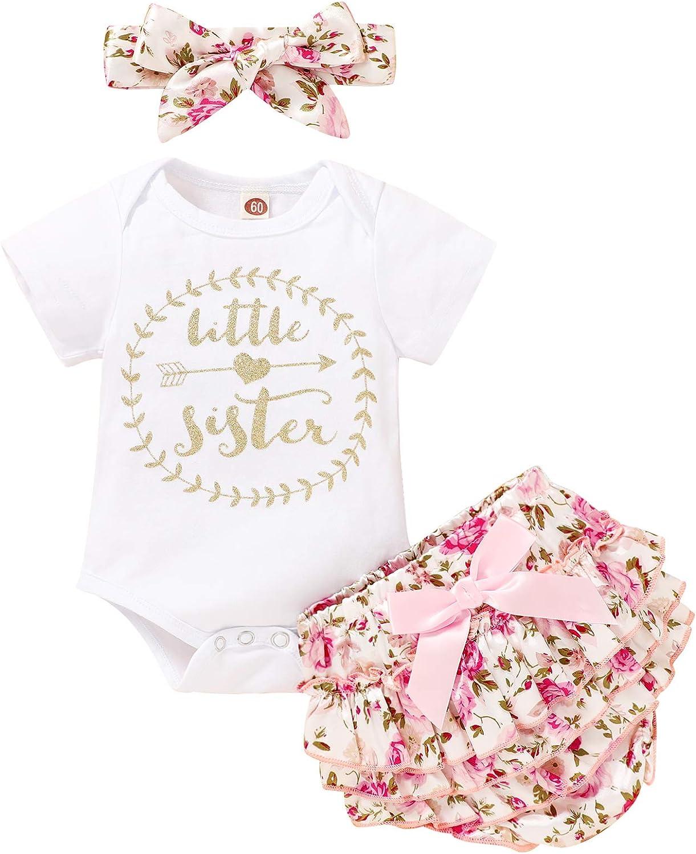 JEELLIGULAR Newborn Baby Girl Outfit Short Sleeve Romper Jumpsuit Bodysuit +Pants Shorts+Headband Summer Clothes