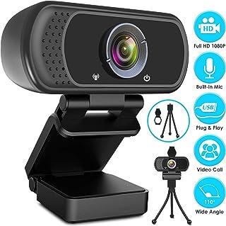 Webcam HD 1080p Web Camera, USB PC Computer Webcam with Microphone, Laptop Desktop Full HD Camera Video Webcam 110-Degree ...