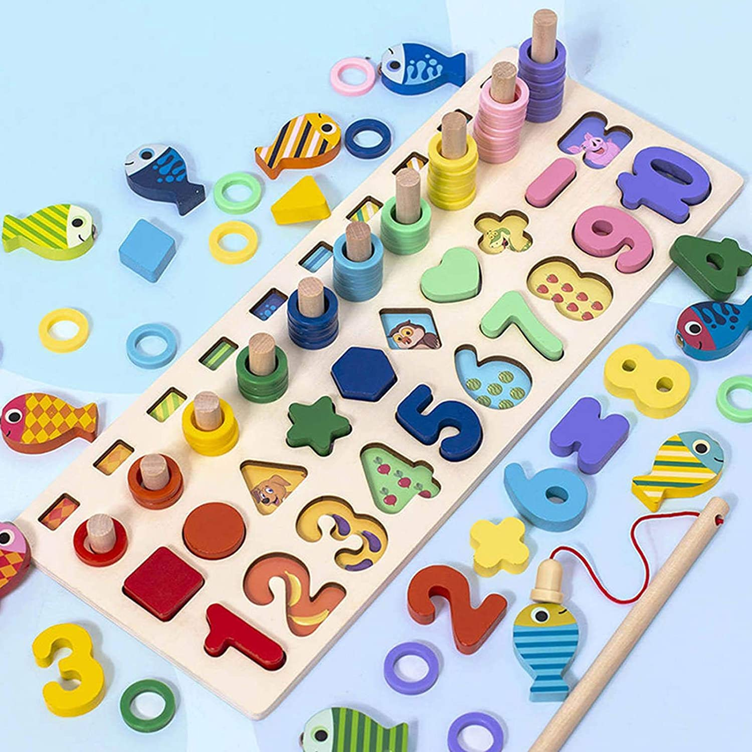 educational stacking block geometric modeling animal learning puzzle board Wooden Montessori puzzle toy 5-in-1 colorful alphanumeric sorting fishing game toy Christmas gifts for boys and girls aged