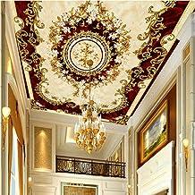 Shuangklei Europese Stijl Luxe 3D Plafond Muurschildering Behang Retro Mooie Bloemen Muurschildering Zitkamer Plafond Muur...