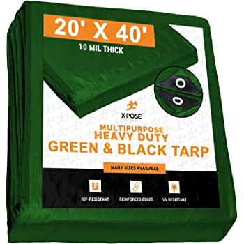 8 x 10 Heavy Duty Green//Black Reversible 10 Mil Poly Tarp P-line