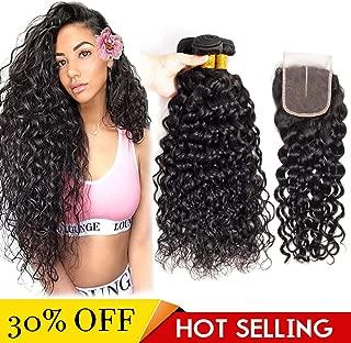 Water Wave Bundles with Closure Brazilian Virgin Human Hair 3 Bundles Wet and Wavy Human Hair With Closure Middle Part (16 18 20 with 14 inch closure)