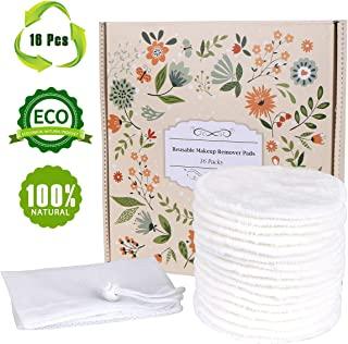 Reusable Makeup Remover Pads 16 Packs, TOPOINT Organic Bamboo Cotton Rounds,Reusable Cotton Pads for Face Wipes with Laundry Bag