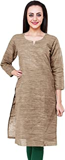 Vastraa Fusion Women Handspun/Handloom Khadi-Look South Cotton Kurta/Kurti - Available in Multicolor and 09 Size Options; up to 5XL Size