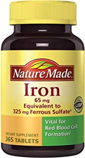 Nature Made Iron 65 mg (365 Count, from Ferrous Sulfate) 1 Bottle, 365 Tablets